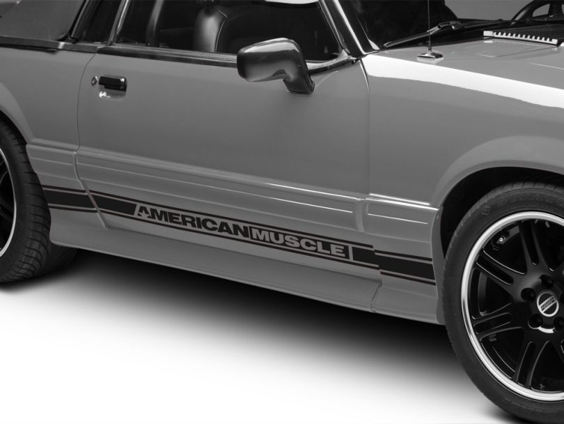 American Muscle Graphics Rocker Stripes with AmericanMuscle Logo; Matte Black (79-93 All)