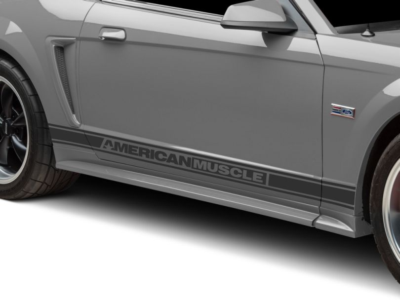 American Muscle Graphics Matte Black Rocker Stripes w/ AmericanMuscle (94-04 All)