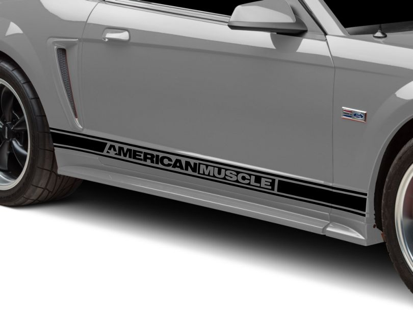 American Muscle Graphics Rocker Stripes with AmericanMuscle Logo; Black (94-04 All)