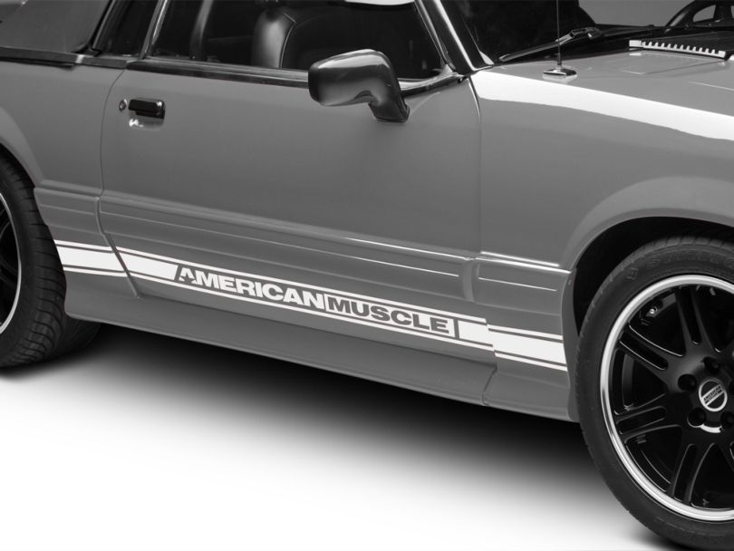 American Muscle Graphics Rocker Stripes with AmericanMuscle Logo; White (79-93 All)