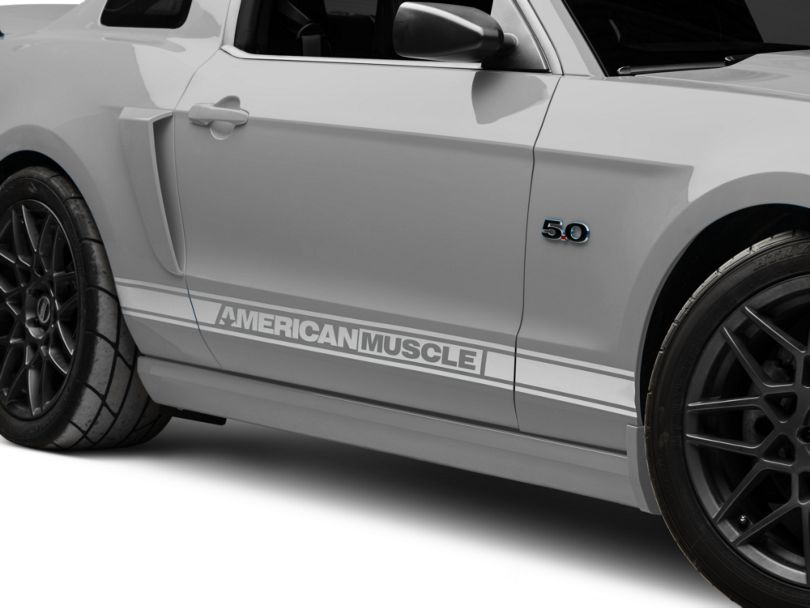 American Muscle Graphics Rocker Stripes with AmericanMuscle Logo; Silver (05-14 All)