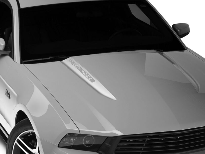American Muscle Graphics Silver Hood Accent Decal - AmericanMuscle Logo (10-12 GT, V6)