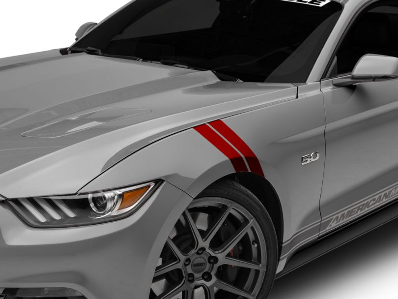 American Muscle Graphics Red GT500 Style Stripes - 10 in. (15-20 All)
