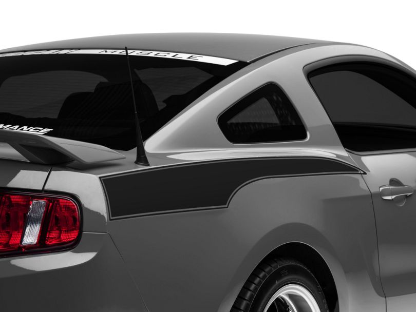 American Muscle Graphics Matte Black Rear Side Stripe Decal (10-14 All)