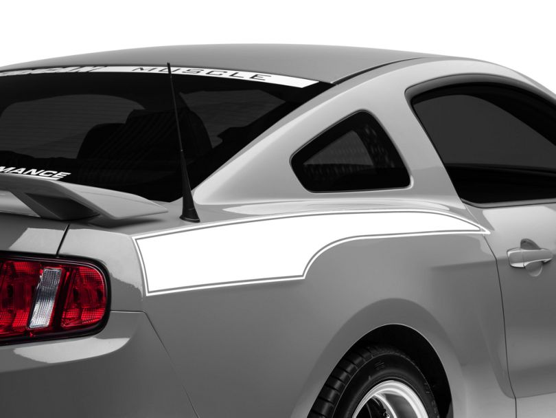 American Muscle Graphics White Rear Side Stripe Decal (10-14 All)