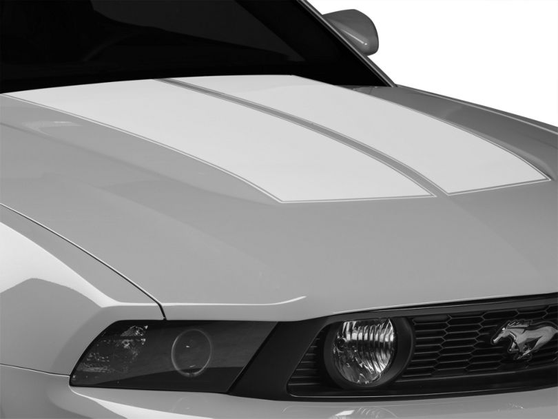 American Muscle Graphics Dual Hood Stripes; White (10-12 All)