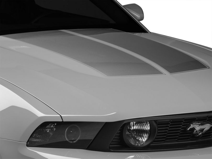 American Muscle Graphics Silver Dual Hood Stripe (10-12 All)