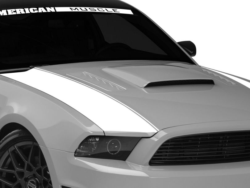 American Muscle Graphics White Outer Hood Stripes (13-14 All)