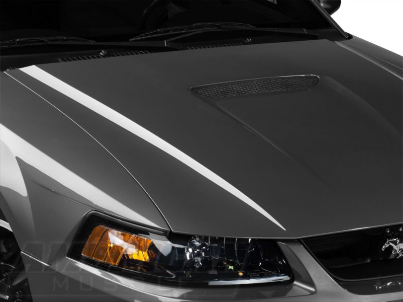 American Muscle Graphics White Hood Accent Decal (99-04 GT; 99-02 V6)