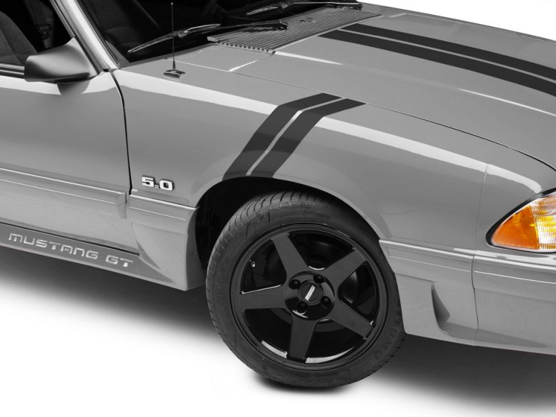 American Muscle Graphics Hash Marks; Matte Black (79-93 All)
