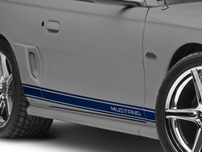 American Muscle Graphics Blue Rocker Stripes w/ Mustang Lettering (94-04 All)