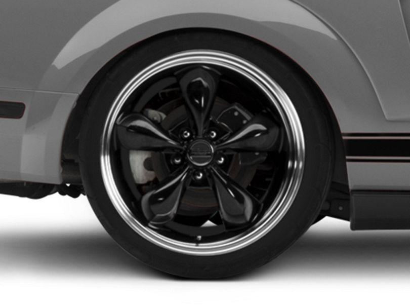 Deep Dish Bullitt Black Wheel; Rear Only; 20x10 (05-09 GT, V6)