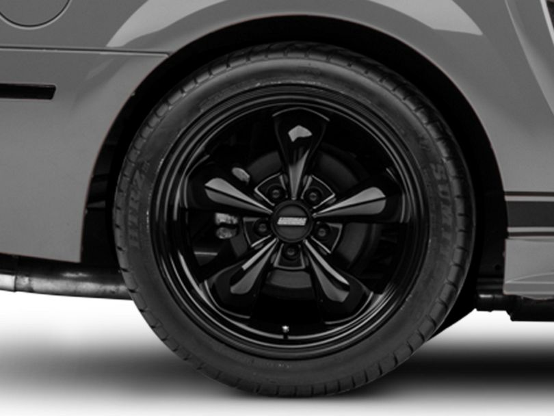 Deep Dish Bullitt Solid Black Wheel; Rear Only; 18x10 (99-04 All)