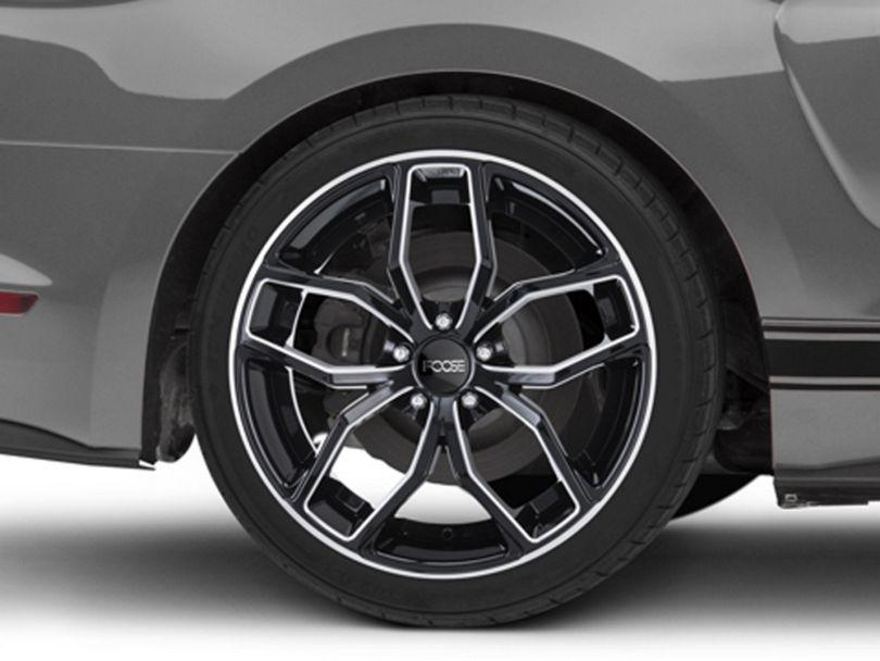 Foose Outcast Black Machined Wheel; Rear Only; 20x10 (15-20 GT, EcoBoost, V6)