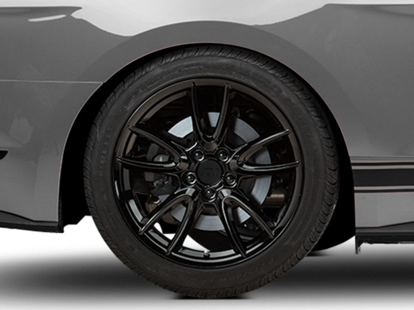 Track Pack Style Gloss Black Wheel; Rear Only; 19x10 (15-20 GT, EcoBoost, V6)