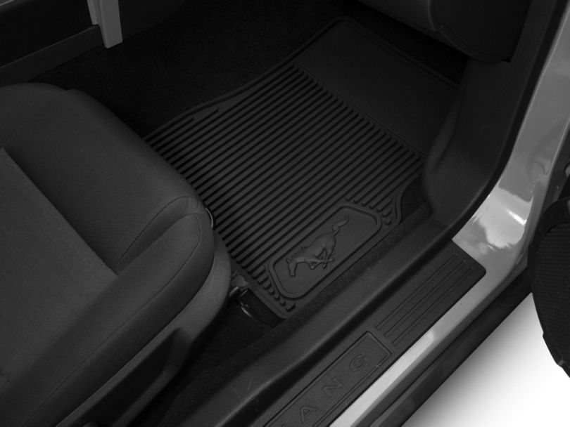 Ford Front and Rear Rubber Floor Mats with Running Pony Logo; Black (05-09 All)