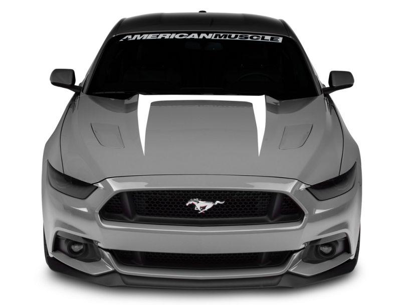 American Muscle Graphics Hood Graphic Decal; White (15-17 GT, EcoBoost, V6)