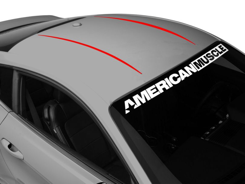 American Muscle Graphics Roof Accent Stripes; Red (15-20 All)