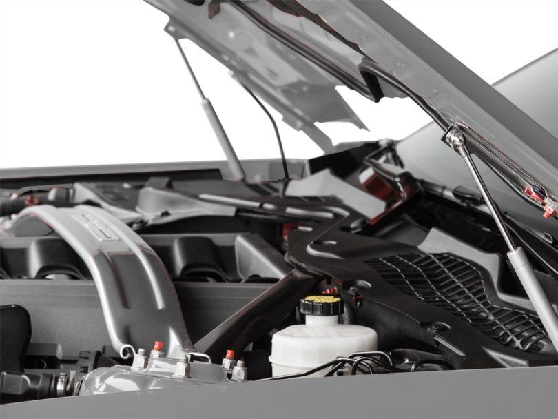 MMD Bolt On Hood Strut Kit; Chrome (15-17 GT, EcoBoost, V6)