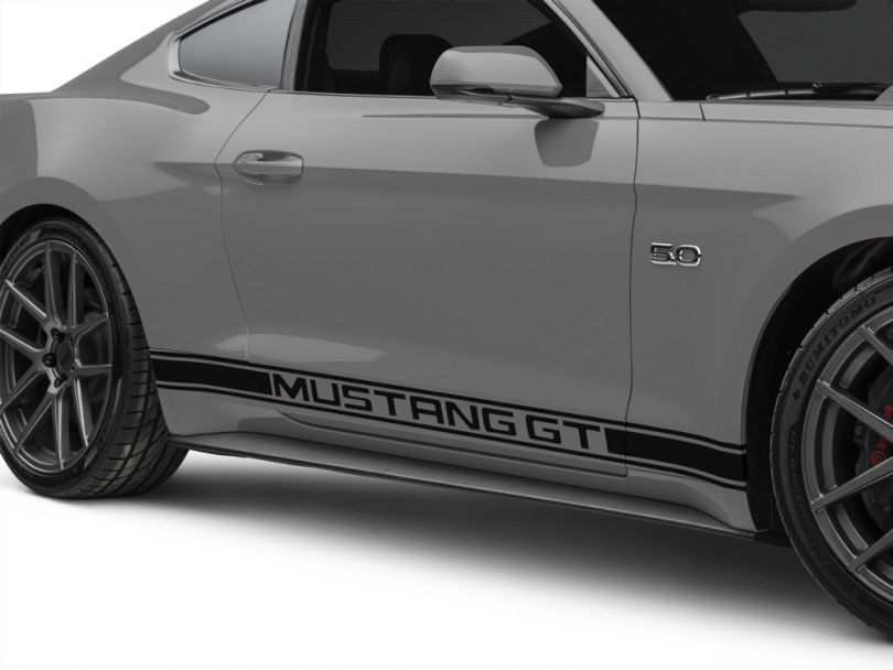 American Muscle Graphics Black Rocker Stripes w/ Mustang GT Lettering (15-20 All)