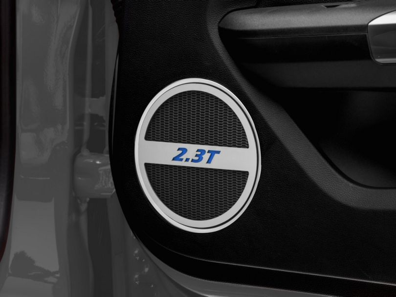 Modern Billet Brushed Lower Door Speaker Trim w/ 2.3T Logo - Blue (15-20 EcoBoost)