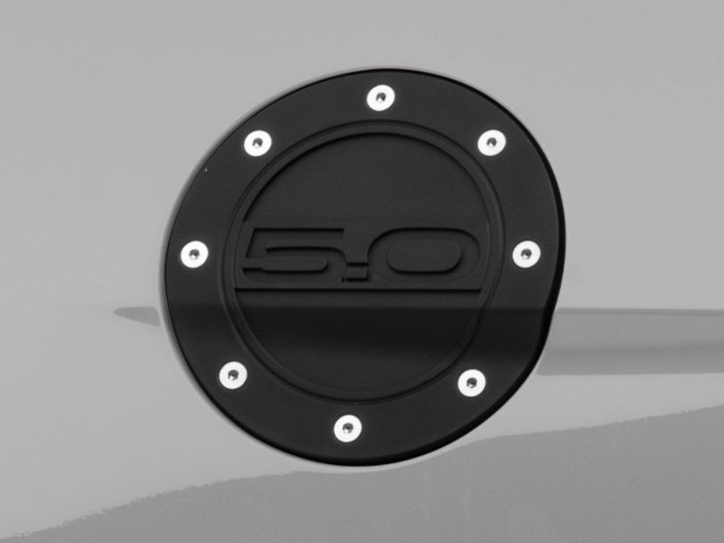 Competition Series Fuel Door with 5.0 Logo; Black (15-20 All)