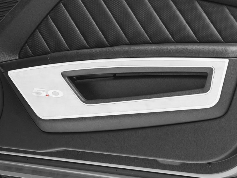 Modern Billet Brushed Door Guards w/ Polished 5.0 Lettering & Trim (10-14 All)