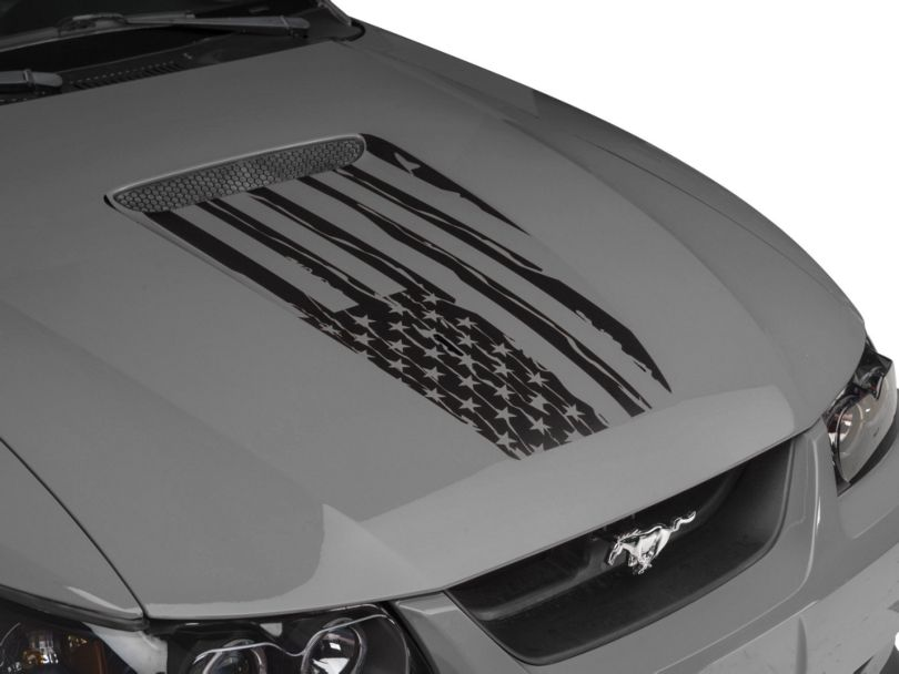 American Muscle Graphics Distressed Flag Hood Decal; Matte Black (99-04 All)