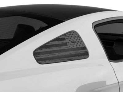 American Muscle Graphics Distressed Flag Quarter Window Decal - Matte Black (10-14 All)