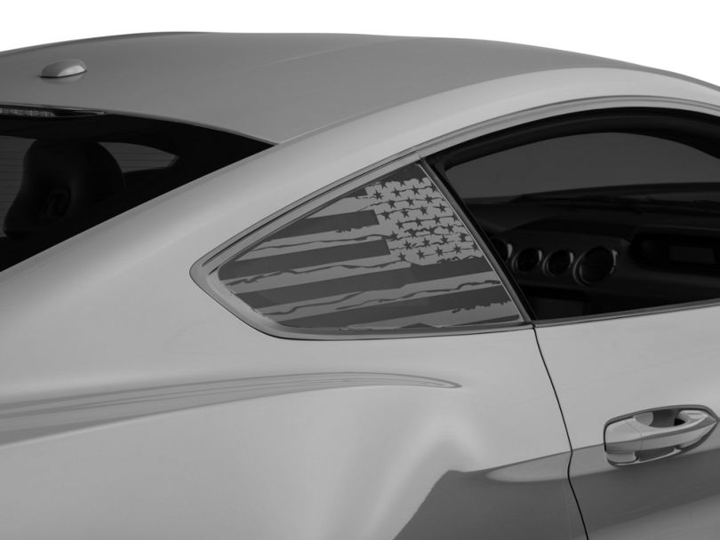 American Muscle Graphics Matte Black Distressed Flag Quarter Window Decals (15-20 Fastback)