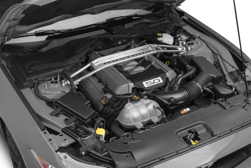 SR Performance Polished Strut Tower Brace w/ Mustang Lettering (15-20 GT, EcoBoost)
