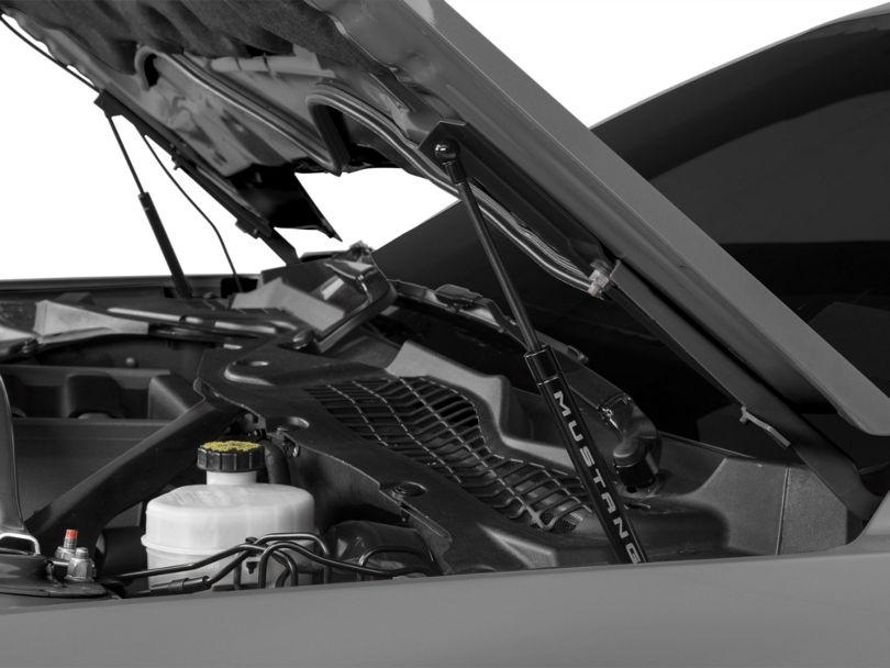 MMD Bolt On Hood Strut Kit w/ Mustang Logo - Black (15-17 GT, EcoBoost, V6)