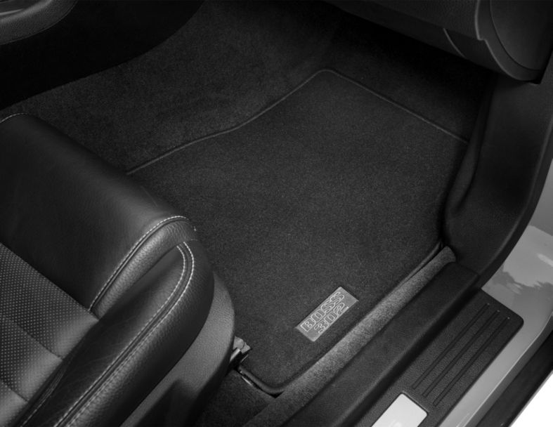 Ford Front Floor Mats with BOSS 302 Logo; Black (11-12 All)