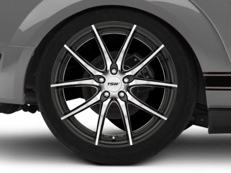TSW Spring Gloss Black with Mirror Cut Face Wheel; Rear Only; 20x10 (05-09 GT, V6)