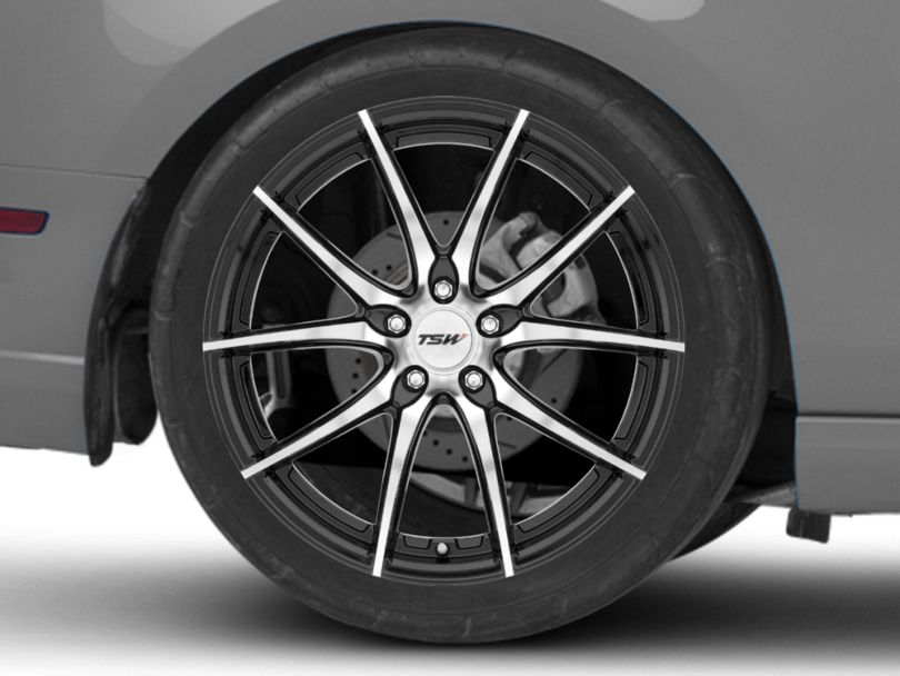 TSW Spring Gloss Black with Mirror Cut Face Wheel; Rear Only; 20x10 (10-14 Standard GT, V6)