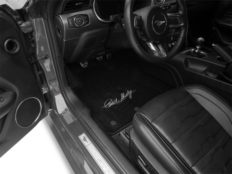 Lloyd Front and Rear Floor Mats with Carroll Shelby Signature; Black (15-20 All)