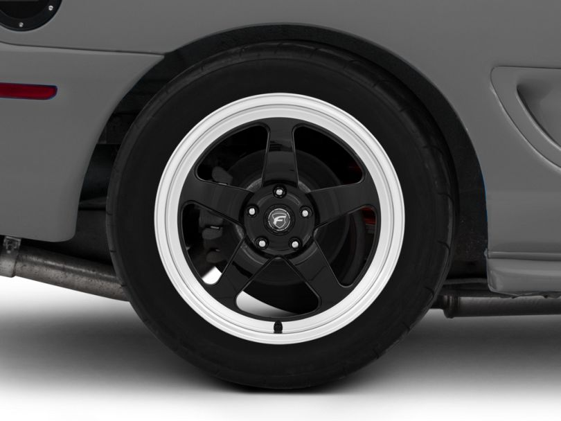 Forgestar D5 Drag Black Machined Wheel - 18x9 - Rear Only (94-98 All)