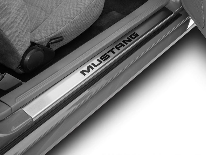 Modern Billet Brushed Door Sill Plates w/ Mustang Lettering (94-04 All)