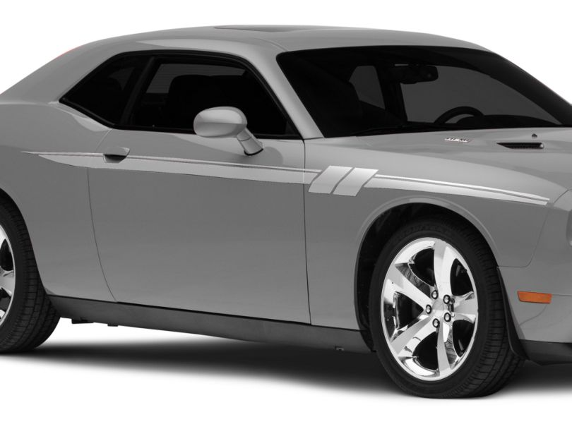 American Muscle Graphics Side Stripes with Hash Marks; Silver (08-20 All)