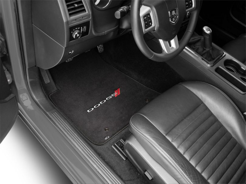 Lloyd Velourtex Front and Rear Floor Mats with Dodge Logo; Black (11-20 All, Excluding AWD)