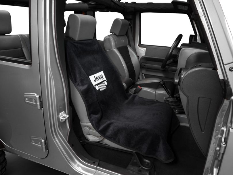 Seat Cover with Jeep Grille; Black (Universal Fitment)