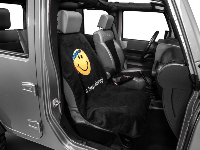 Seat Armour Seat Cover with Jeep Smiley Face; Black (87-20 Jeep Wrangler YJ, TJ, JK & JL)
