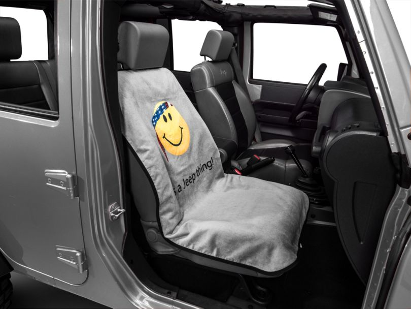 Seat Armour Jeep Smiley Face Seat Cover - Gray (87-20 Jeep Wrangler YJ, TJ, JK & JL)