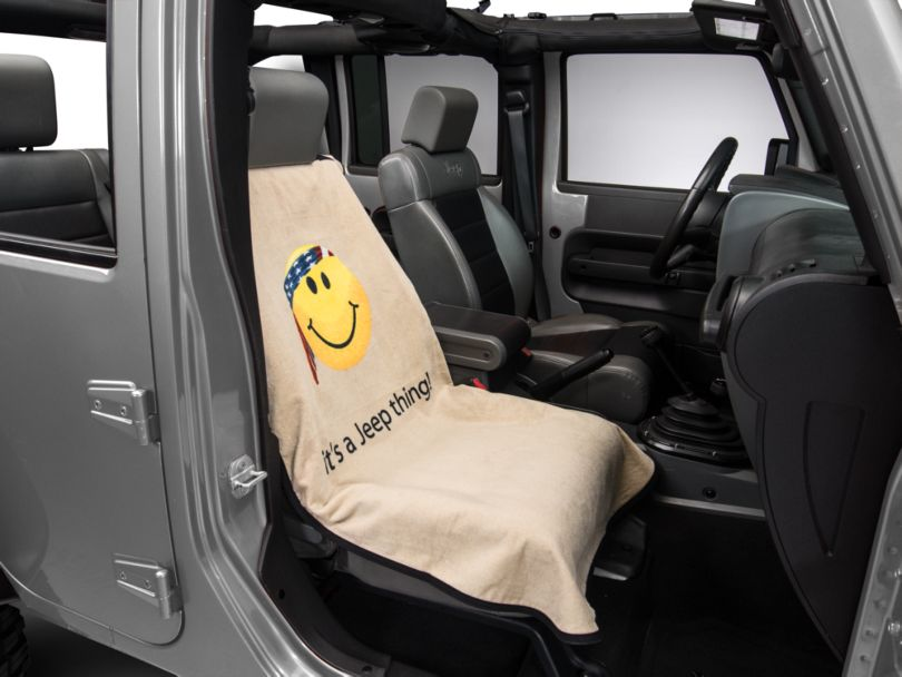 Seat Armour Jeep Smiley Face Seat Cover - Tan (87-20 Jeep Wrangler YJ, TJ, JK & JL)