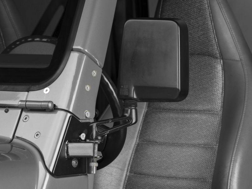 Mirror Relocation Brackets - Black (97-02 Jeep Wrangler TJ)