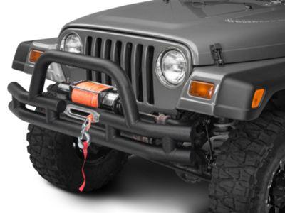 Add Barricade Front Tubular Bumper w/ Winch Cutout - Textured Black (87-06 Wrangler YJ & TJ)