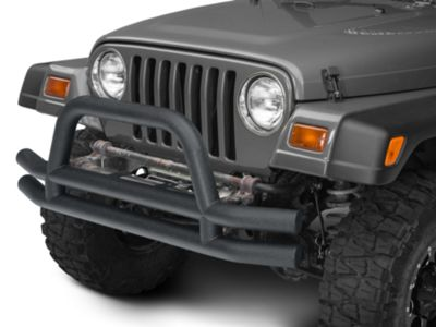 Add Barricade Double Tubular Front Bumper w/ Hoop Over-Rider - Textured Black (87-06 Wrangler YJ & TJ)