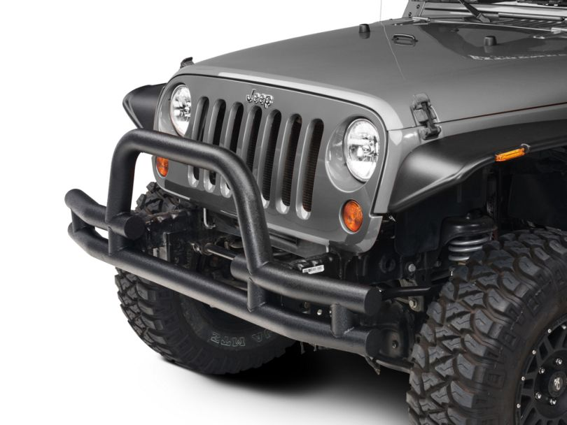 Barricade Tubular Front Bumper w/ Winch Cutout - Textured Black (07-18 Jeep Wrangler JK)