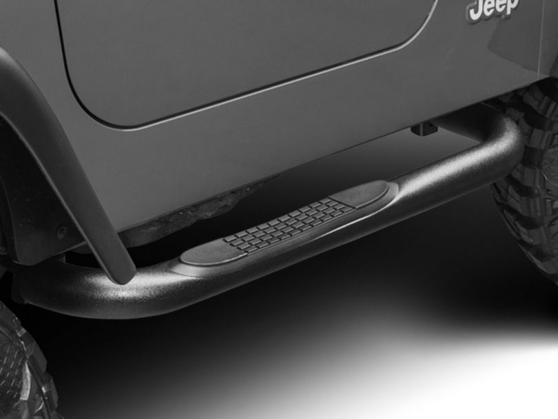 RedRock 4x4 3-Inch Round Side Step Bars; Textured Black (87-06 Jeep Wrangler YJ & TJ, Excluding Unlimited)