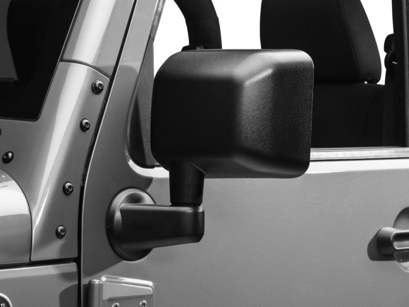 OPR Left Side Replacement Mirror - Textured Black (07-18 Jeep Wrangler JK)